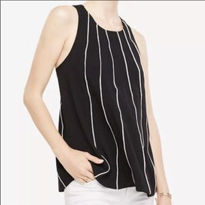 ANN TAYLOR Piped Swing Shell Top Halter Strap Back